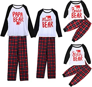 Papa Mama Kids Baby Bear Family Matching Christmas Pajamas Sets for The Family
