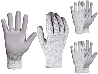 YSBER 3 Pairs Gardening Gloves for Women and Men Wear-resistant PU Coated Anti-cut Gloves with Garden Planting, Fishing (Large, Grey)