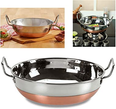 Stainless Still Kadhai with Copper Bottom/ Pure Copper Bottom/ Indian Kitchenware Accessories / Kitchen Accessories Cooking K