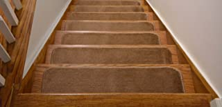 Comfy Collection Stair Tread Treads Indoor Skid Slip Resistant Carpet Stair Tread Treads Machine Washable 8 ½ inch x 28 inch (Set of 7, Beige)
