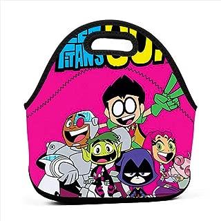 Insulated Neoprene Picnic Storage Bag Gourmet Handbag For Men Women - Teen Titans Go! Fan Art Pink Poster Lunch Bags - Reusable Zipper Bento Lunch Box Food Tote