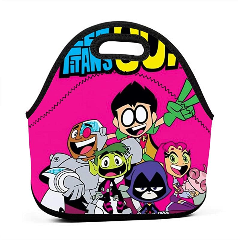 Insulated Neoprene Picnic Storage Bag Gourmet Handbag For Men Women Teen Titans Go Fan Art Pink Poster Lunch Bags Reusable Zipper Bento Lunch Box Food Tote