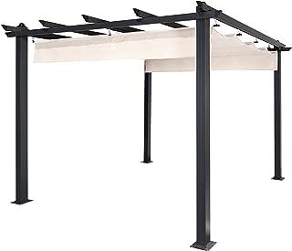 ALEKO PERGWT Grape Trellis Pergola Outdoor Canopy Pool Garden Patio Gazebo 9 x 9 Feet White and Black