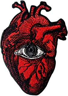 All Seeing Eye On Heart Patch Embroidered Badge Iron On Sew On Emblem