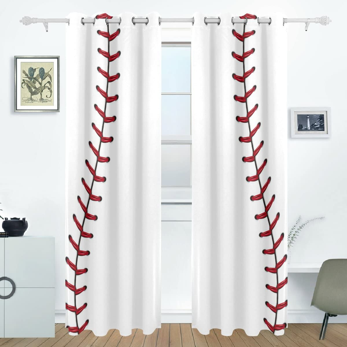Bettken Fashion Fort Worth Mall Baseball Photo Custom Polyester Window Fiber Darkening C