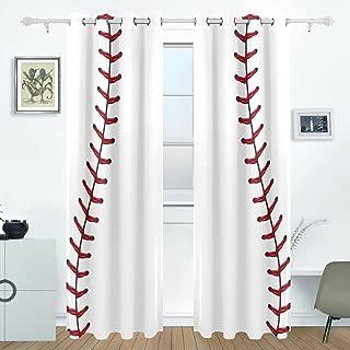 Bettken Baseball Photo Custom Polyester Fiber Darkening Window Curtains for Living Room Decor Thermal Insulated Blackout Drapes with Grommet for Bedroom(2 Panel,H84 x W55 in)