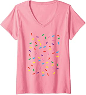 Womens Ice Cream With Sprinkles Funny Lazy DIY Halloween Costume V-Neck T-Shirt