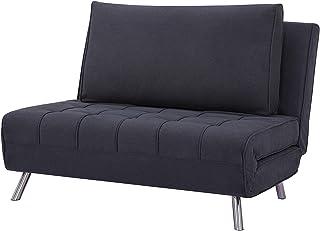 Marca Amazon - Movian Scutari - Sofá cama de dos plazas 122 x 91 x 91 negro