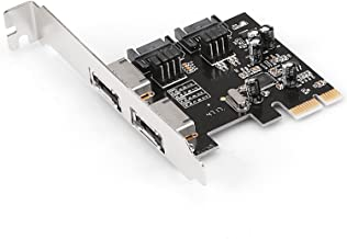 Hommie SATA 3.0 PCIe Card, 2 Port eSATA & 2 Port SATA 3.0 Serial ATA to PCI-E Express Card Controller Non-Raid Adapter Converter 6.0Gbps ASM1061 Chipset with Low Profile Bracket