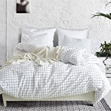 Mozeo Mini Black and White Grid Checkered Pattern Bedding Cover Set, Soft Duvet Cover Bedding Set 1 Duvet Cover and 2 Pill...