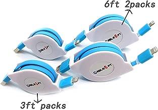 AWASA 4 Packs! 2x3ft 2x6ft Retractable USB Charger Cable Retractable Charging Cord Retractble Phone Charger Cord for Phone X/XS MAX /8 Plus, XR,Pod Nano 7 Pad Air, (Blue)