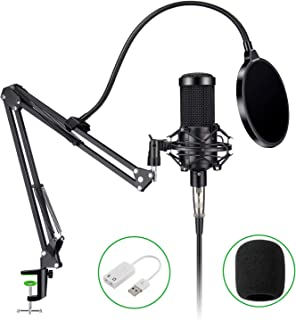 Aokeo Obsidian AK-60 Professional Condenser Microphone & AK-35 Suspension Boom Scissor Arm Stand with Built-in XLR Cable and Mounting Clamp (AK-60 Set)