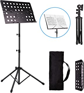 Vangoa Sheet Music Stand Lightweight Portable Folding Professional Adjustable Music Book Stand Holder Metal with Carrying Bag for Orchestra Performance
