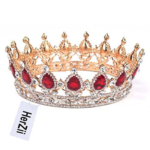 Herzii Princess Rhinestone Crystal Crowns Wedding Tiaras Party Accessories Head Jewelry Redgold