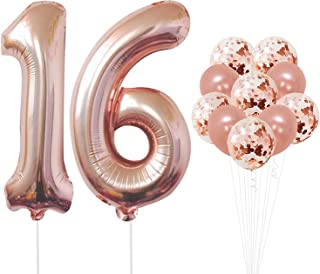 KatchOn Rose Gold Number 16 Balloons - foil Mylar Rose Gold Balloons Party Decorations Rose Gold Party Supplies for Engagement Birthday Baby Shower Wedding 32 Foot Balloons String