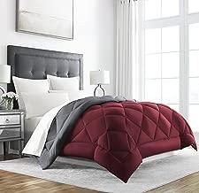 Sleep Restoration Goose Down Alternative Comforter - Reversible - All Season Hotel Quality Luxury Hypoallergenic Comforter -King/Cal King - Burgundy/Grey