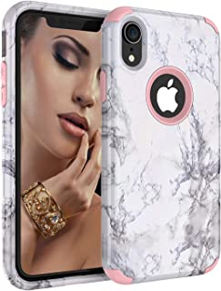 iPhone XR Case, Ankoe Marble Stone Pattern Shockproof Full Body Protective Cover TRI-Layer Slim Soft Flexible Silicone and Hard PC for iPhone XR 6.1 Inch 2018 Release (Rose Gold)
