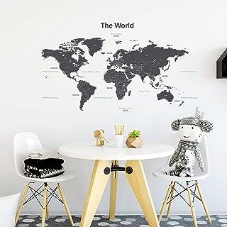 DECOWALL DWL-1609GS Carte du monde Moderne Grise (Moyen)(Ver anglais) Autocollants Muraux Mural Stickers Chambre Enfants G...