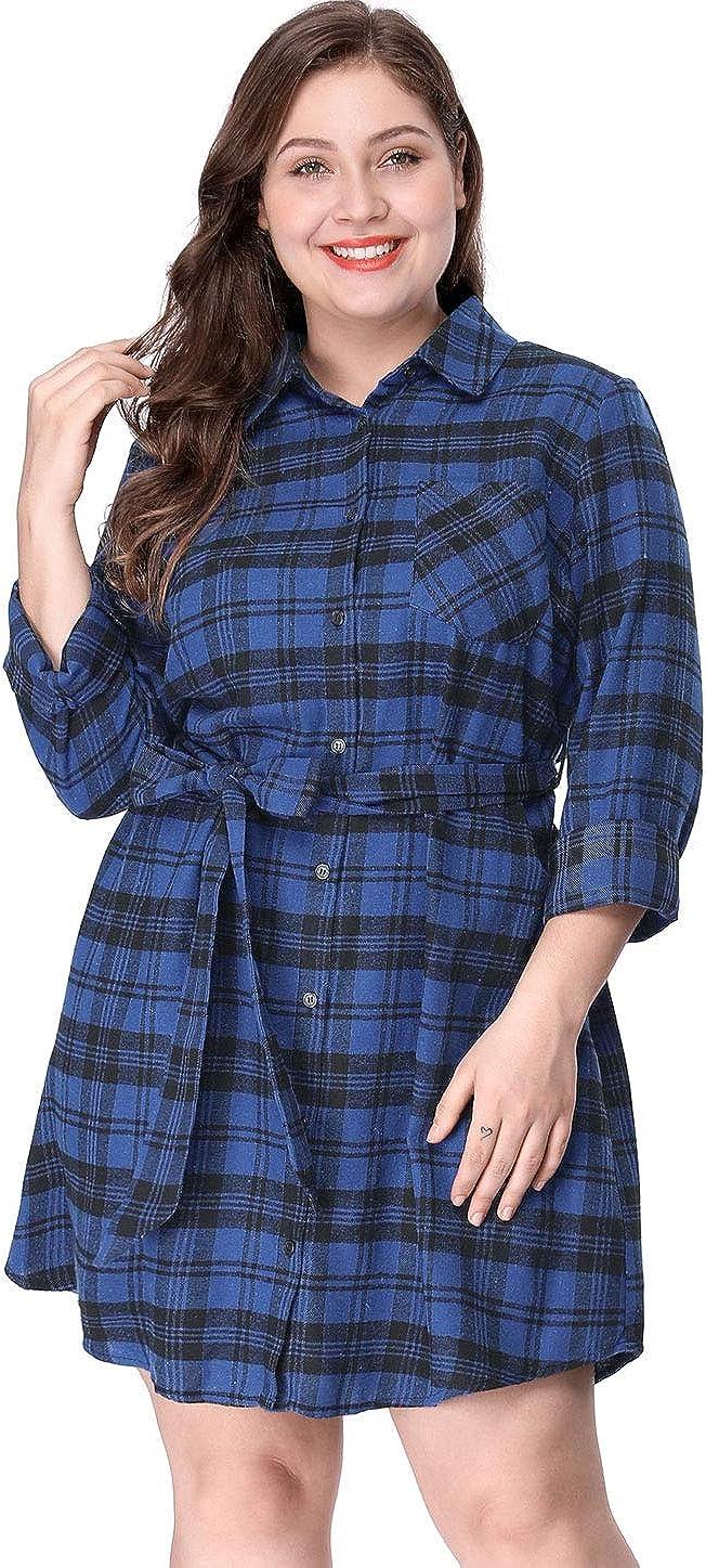 Agnes Orinda Women's Plus Size Dresses Side Tie Long Sleeves Midi Plaids Dress Mothers Day