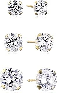 Jewelili 10kt Gold Three Stud Earrings set with Round Cut Swarovski Zirconia (3.5cttw)