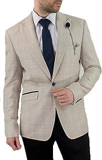 Cavani Men's Caridi Slim Fit Classic Jacket Blazer Beige