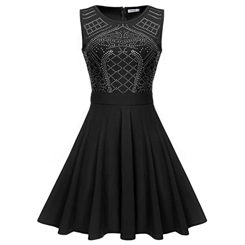 0c76c612d80e Meaneor Women's Sleeveless Rhinestone Embellished Fit and Flare Swing Dress