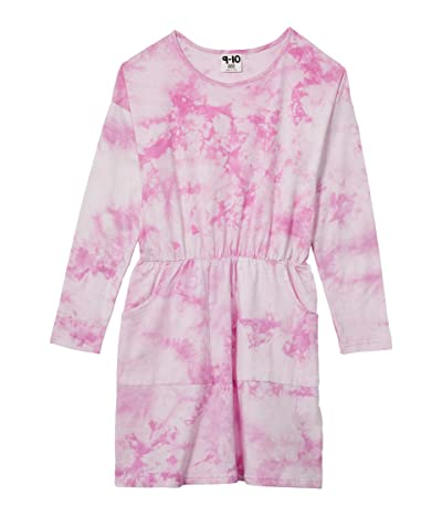 COTTON ON Sigrid Long Sleeve Dress (Toddler/Little Kids/Big Kids) (Purple Paradise Tie-Dye) Girl