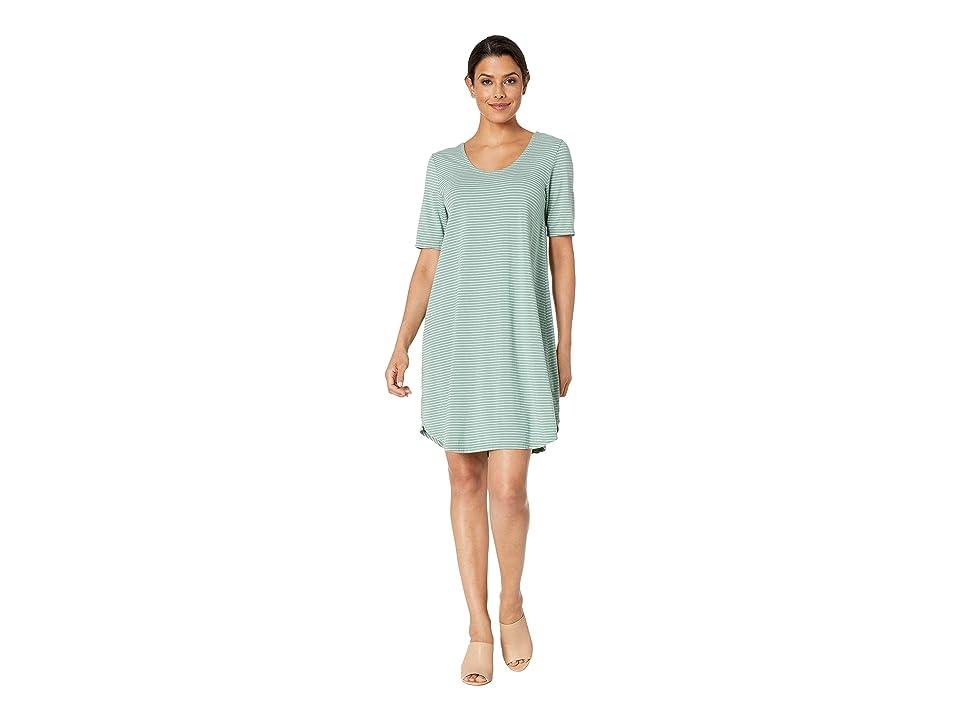 Fresh Produce Pinstripe Mika Dress (Lagoon Green) Women