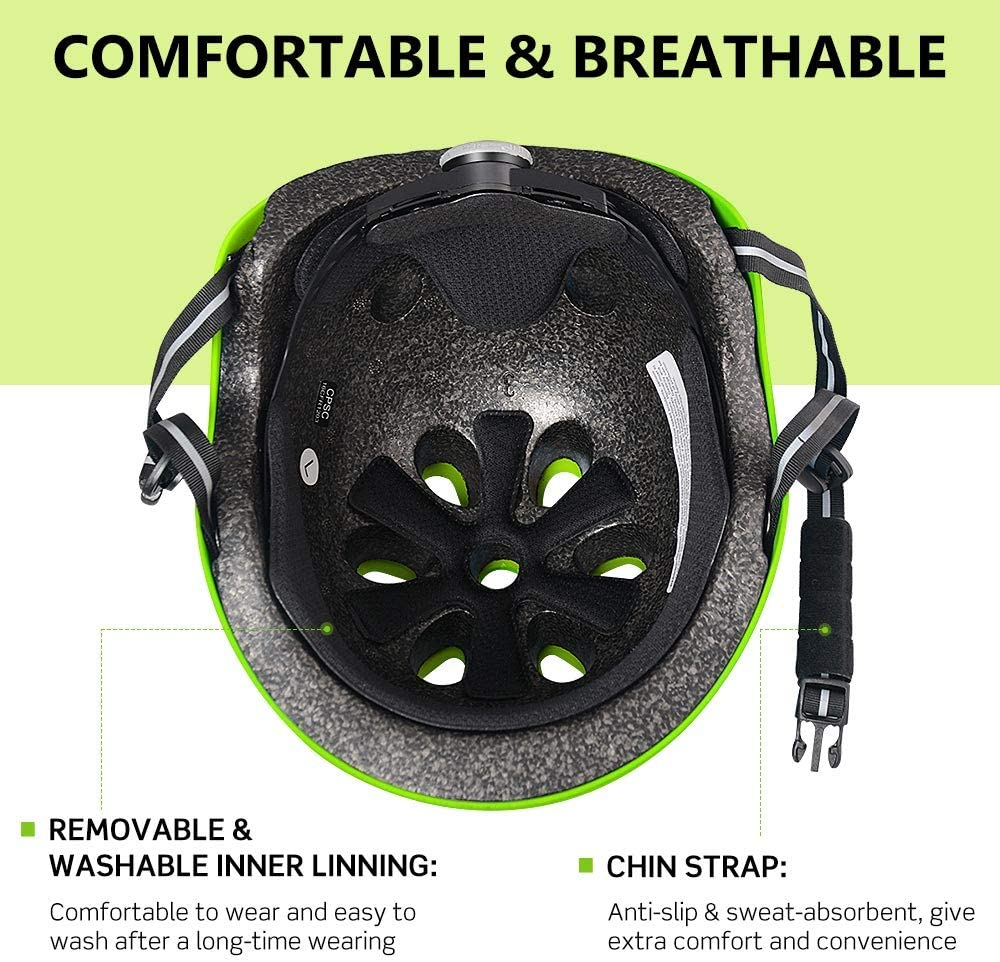 CPSC Certified Bike Helmet for Kids//Youth//Adults ZIONOR H3 Skateboard Helmet Comfortable Wearing for Bicycle//Cycling//Skateboarding//Roller Skating//Inline Skating//Scooter