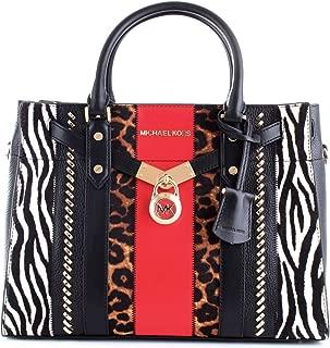 Michael Kors Nouveau Hamilton Patchwork Leopard Zebra Large Satchel Bag