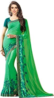 RAJESHWAR FASHION WITH RF Women's Printed Georgette Saree with Blouse Piece (Green)