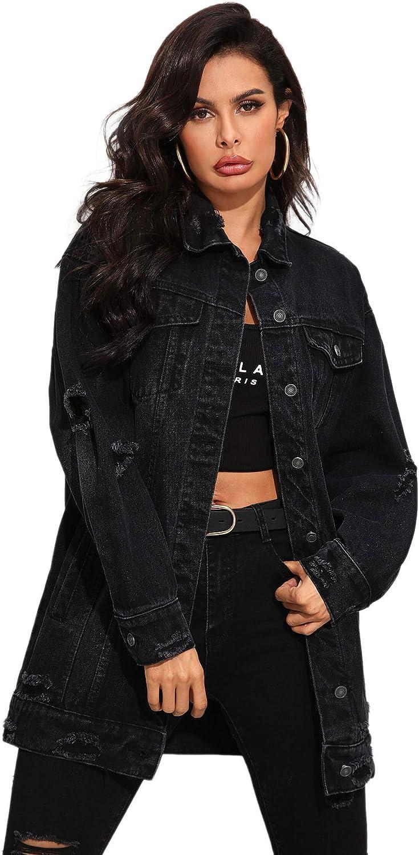 Floerns Women's Oversized Denim Jacket Long Boyfriend Distresse Jean Jacket