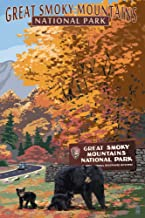 Great Smoky Mountains National Park, Tennesseee - Park Entrance and Bear Family (12x18 Art Print, Wall Decor Travel Poster)