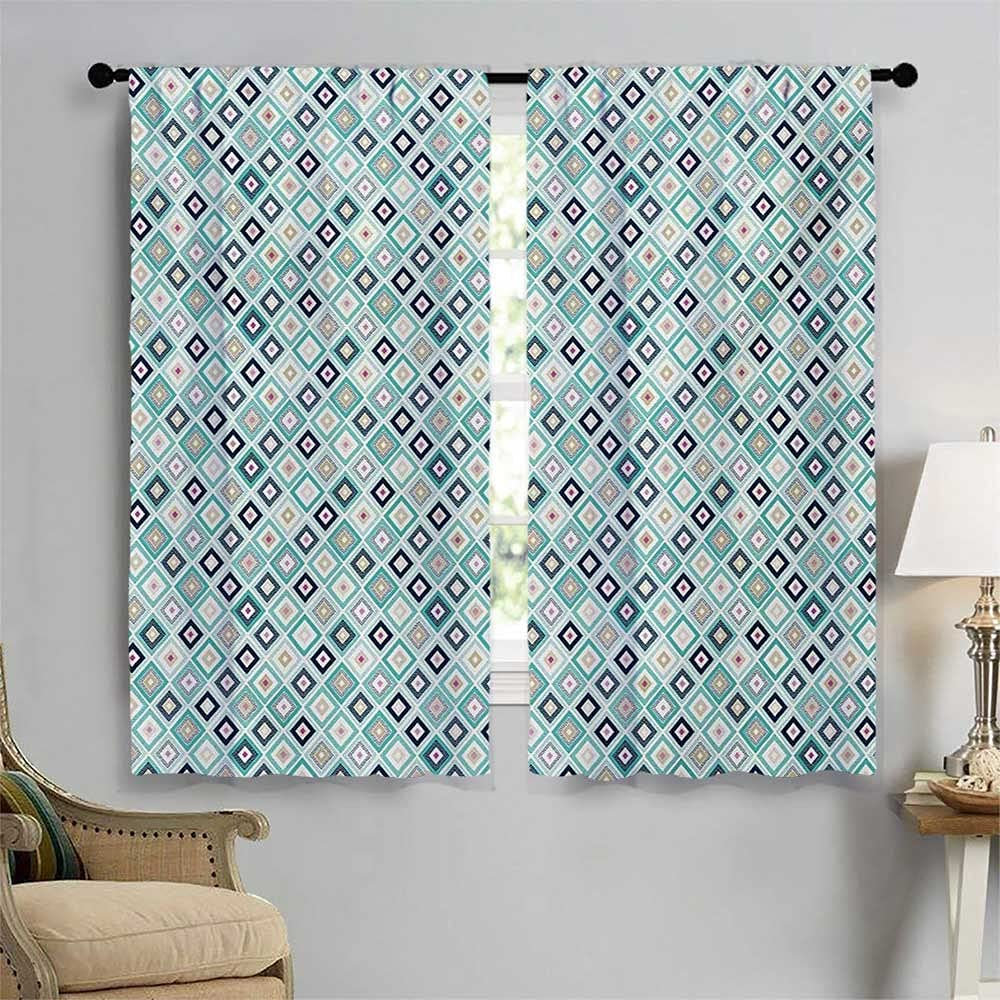 Turquoise Blackout Draperies for Rhombuses Finally resale start Geomet Dotted Bedroom Recommendation