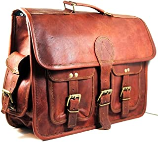 TUZECH 20 Inch Leather Messenger Bag Shoulder Men Laptop Briefcase Vintage Satchel