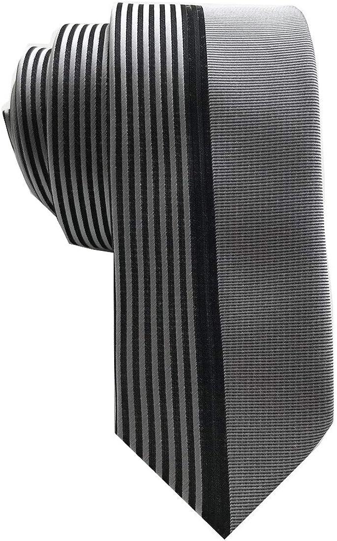 Melody Unique Design Vertical Stripes Tie Fashion Skinny Slim Necktie for Men