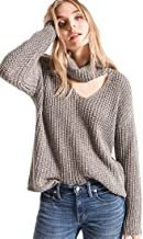 Rag Poets RW183548 Danae Cowl Cut Out Neck Sweater in Magnet