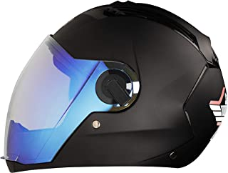 Steelbird SBA-2 7Wings Full Face Helmet in Matt Finish (Large 600 MM, Nero Volcano with Night Vision Blue Visor)