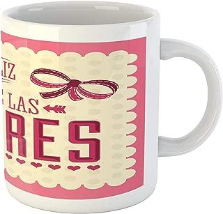 Lunarable Mothers Day Mug, Feliz Dia de las Madres Spanish Phrase on Vintage Dotted Backdrop, Ceramic Coffee Mug Cup for Water Tea Drinks, 11 oz, Magenta Beige