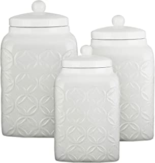 American Atelier Ceramic Canister Set Jar Container for Kitchen Food Storage Embossed White Set of 3