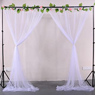 White Sheer Backdrop Curtains Tulle Backdrop Drapes for Parties Wedding Ceremony Birthday Party Background Home Decorations 2 Panels 5 ft X 8 ft