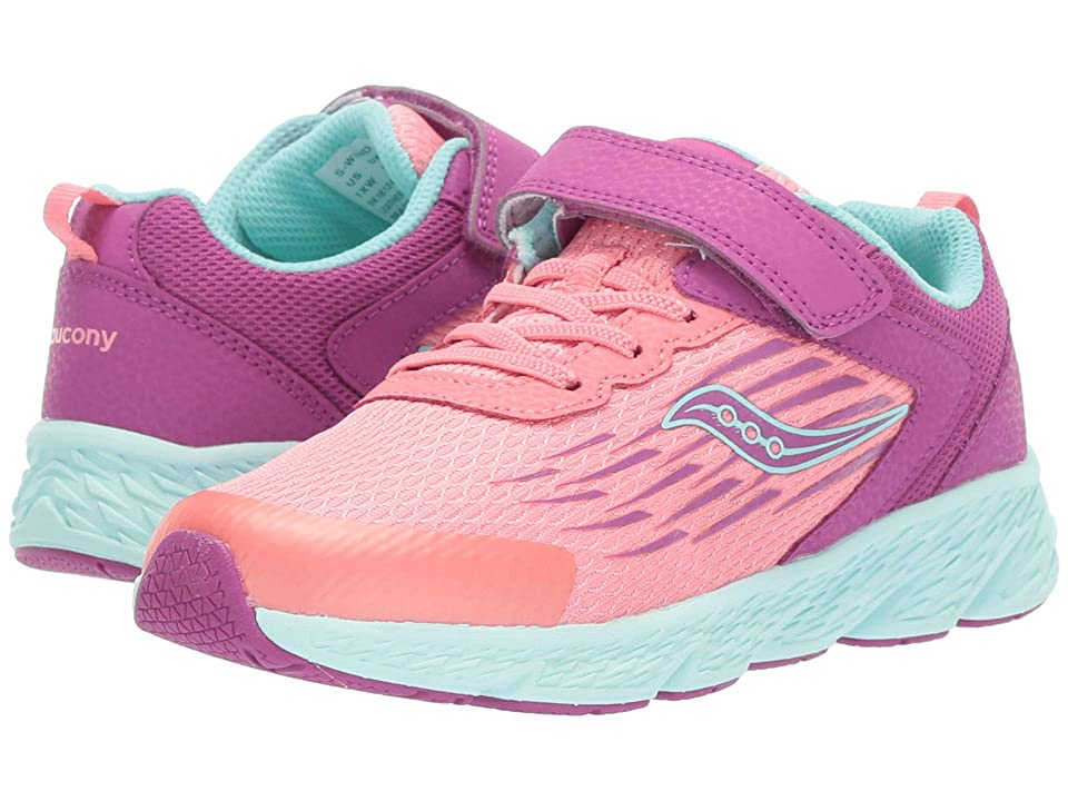 Saucony Kids Wind A/C (Little Kid/Big Kid) (Purple/Coral) Girls Shoes