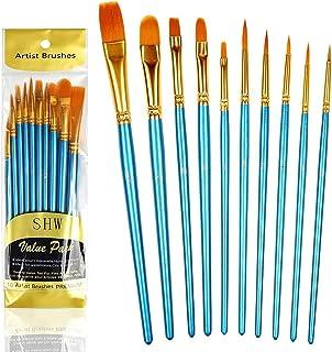 10 Piezas de Pinceles (Conjunto), Cepillo de nylon para Pintura acrílica, Pintura al óleo, Pintura de acuarela, pintura a ...