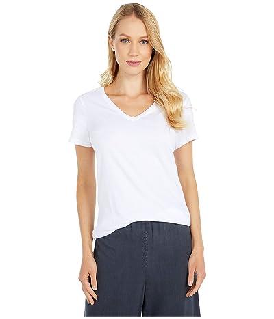 PACT Organic Cotton Featherweight V-Neck Tee (White) Women