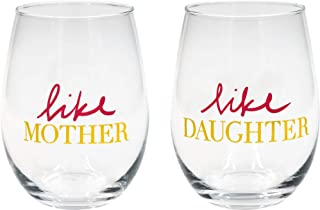 About Face Designs Like Mother/ Like Daughter In Gold and Pink 16 Ounce Glass Wine Set of 2