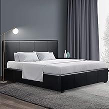 Artiss Queen Bed Frame, Gas Lift Bed Base with Storage, Leather Upholstered Platform Bed Frame, Black