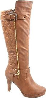 Top Moda FZ-Win-6 Women's Fashion Quilted Buckle Low Heel Zipper Knee High Boots Shoes