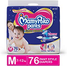 MamyPoko Pants Extra Absorb Diaper, Medium (Pack of 76)