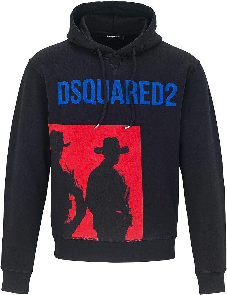 Dsquared2 felpa con cappuccio da uomo in cotone con stampa cowboys 74788M264149