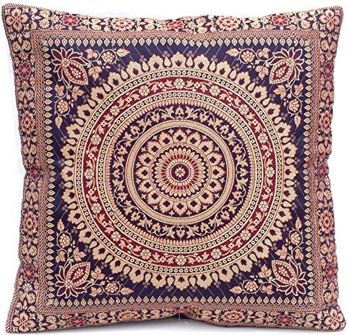 Donkerblauw Indiase zijden decoratieve kussenslopen 40 cm x 40 cm, extravagant design voor woonkamer en slaapkamer decoratie, kussenhoes uit India. Aanbieding geldig zolang de voorraad strekt.